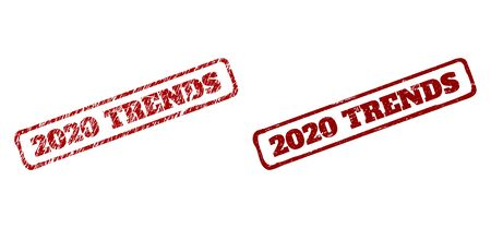 Rectangle rough 2020 TRENDS watermarks. Red textured watermarks with 2020 TRENDS phrase inside rounded rectangle rough frame. Flat vector watermarks with corroded surfaces.
