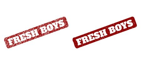 Flat vector FRESH BOYS watermark with distress style. Rounded rough rectangle seal stamp. Red scratched seal stamp with FRESH BOYS text inside rounded rough rectangle.
