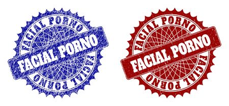 Round FACIAL PORNO stamps. Blue and red scratched stamps with FACIAL PORNO title inside round rosette. Flat vector watermarks with corroded surfaces.