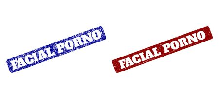 Flat vector FACIAL PORNO watermarks with distress textures. Rounded Rectangle watermarks. Red and blue distress stamps with FACIAL PORNO text inside rounded rectangle.