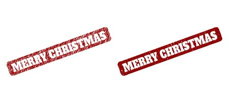 Flat vector MERRY CHRISTMAS rubber imitation with grunge surface. Rounded rough rectangle seal stamp. Red grunge seal stamp with MERRY CHRISTMAS phrase inside rounded rough rectangle.
