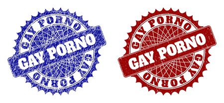 Round GAY PORNO seal stamps. Blue and red scratched seal stamps with GAY PORNO title inside round rosette. Flat vector imprints with unclean textures.