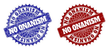 Rounded NO ONANISM seals. Blue and red distress stamps with NO ONANISM message inside round rosette. Flat vector watermarks with distress styles.