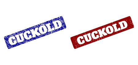 Flat vector CUCKOLD rubber imitations with scratched surfaces. Rounded Rectangle seal stamps. Red and blue distress seal stamps with CUCKOLD caption inside rounded rectangle.