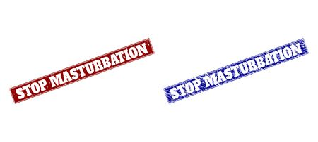 Rectangle STOP MASTURBATION watermarks. Blue and red grunge watermarks with STOP MASTURBATION text inside rectangle with border. Flat vector watermarks with corroded styles. Illustration