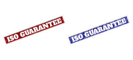 Rectangle ISO GUARANTEE watermarks. Blue and red textured watermarks with ISO GUARANTEE title inside rectangle with border. Flat vector watermarks with grunged surfaces. Illustration