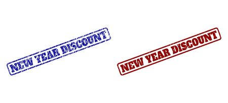Rounded rectangle NEW YEAR DISCOUNT watermarks. Blue and red scratched watermarks with NEW YEAR DISCOUNT message inside rounded rectangle frame. Flat vector watermarks with grunged styles.