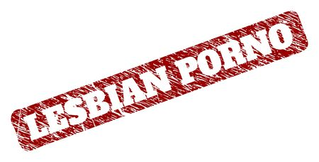 Flat vector LESBIAN PORNO watermark with corroded surface. Rounded rough rectangle seal stamp. Red scratched seal stamp with LESBIAN PORNO message inside rounded rough rectangle.