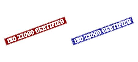 Rectangle ISO 22000 CERTIFIED seals. Blue and red distress seals with ISO 22000 CERTIFIED message inside rectangle with frame. Flat vector imprints with distress textures.