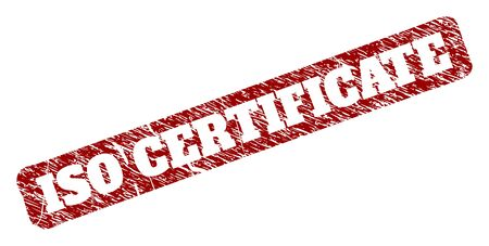 Flat vector ISO CERTIFICATE watermark with unclean texture. Rounded rough rectangle watermark. Red scratched watermark with ISO CERTIFICATE message inside rounded rough rectangle. Illustration
