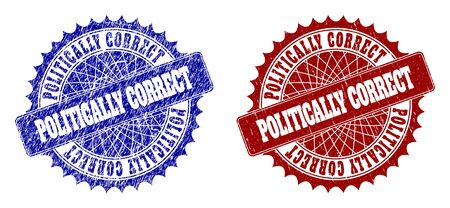 Rounded POLITICALLY CORRECT stamps. Blue and red distress seal stamps with POLITICALLY CORRECT text inside rounded rosette. Flat vector rubber imitations with scratched styles.