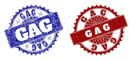 Round GAG seal stamps. Blue and red textured stamps with GAG title inside round rosette. Flat vector rubber imitations with corroded surfaces.