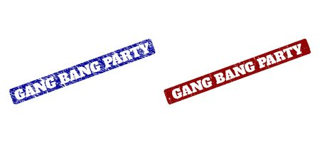 Imitations en caoutchouc de vecteur plat GANG BANG PARTY avec des surfaces grunge. Joints rectangulaires arrondis. Timbres grunge rouges et bleus avec message GANG BANG PARTY à l'intérieur d'un rectangle arrondi. Vecteurs