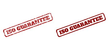 Rectangle rough ISO GUARANTEE seal stamps. Red grunge seal stamps with ISO GUARANTEE text inside rounded rectangle rough frame. Flat vector imprints with unclean textures. Illustration