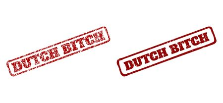 Rectangle rough DUTCH BITCH seal stamps. Red textured stamps with DUTCH BITCH title inside rounded rectangle rough frame. Flat vector watermarks with grunged surfaces. Ilustración de vector
