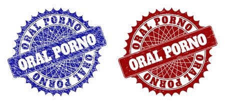 Rounded ORAL PORNO seal stamps. Blue and red textured seal stamps with ORAL PORNO caption inside rounded rosette. Flat vector rubber imitations with grunged styles. Illusztráció