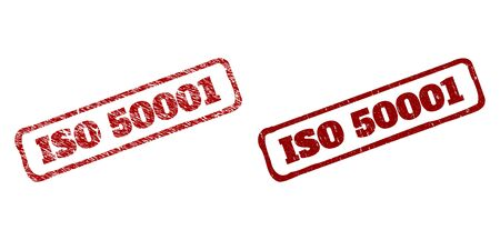 Rectangle rough ISO 50001 seal stamps. Red grunge seal stamps with ISO 50001 phrase inside rounded rectangle rough frame. Flat vector watermarks with grunge styles.