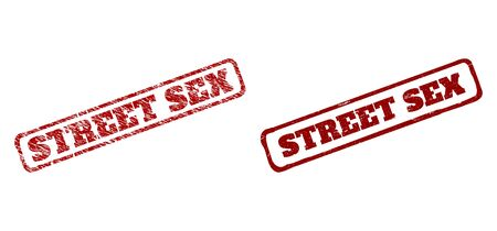 Rectangular rough STREET SEX seal stamps. Red textured seal stamps with STREET SEX title inside rounded rectangle rough frame. Flat vector rubber imitations with unclean textures.