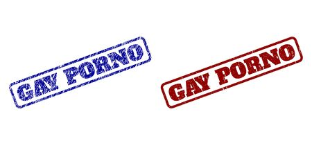 Rounded rectangle GAY PORNO seal stamps. Blue and red grunge seal stamps with GAY PORNO title inside rounded rectangle frame. Flat vector watermarks with grunged textures.