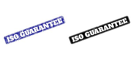 Rounded Rectangle ISO GUARANTEE watermarks. Black and blue distress watermarks with ISO GUARANTEE message inside rounded rectangle with border. Flat vector watermarks with grunge surfaces.
