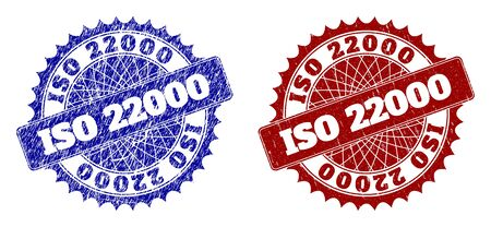 Round ISO 22000 stamps. Blue and red scratched stamps with ISO 22000 title inside round rosette. Flat vector imprints with scratched styles.