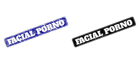 Rounded Rectangle FACIAL PORNO stamps. Black and blue scratched stamps with FACIAL PORNO phrase inside rounded rectangle with border. Flat vector watermarks with corroded textures.