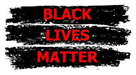 Black Lives Matter illustration for human rights in America. Vector Black Lives Matter in red and black colors. Vibrant image for BLM templates. For use as illustration about racial inequality,
