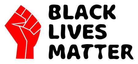BLM Fist illustration for human rights in America. Vector BLM Fist in red and black colors. Vibrant image for patriotic illustrations. For use as illustration about racial inequality, human rights, Çizim