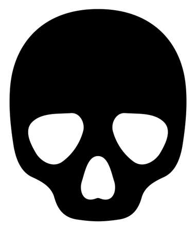 Skull icon with flat style on a white background. Isolated raster skull icon image, simple style.