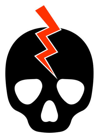 Death strike icon with flat style on a white background. Isolated raster death strike icon illustrations, simple style.