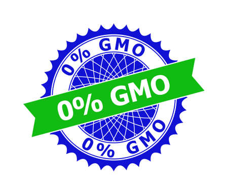 Vector 0% GMO bicolor template for imprints with clean surface. Flat clean seal template with 0% GMO phrase inside round sharp rosette. Blue color elements. Bicolor seal without textures.