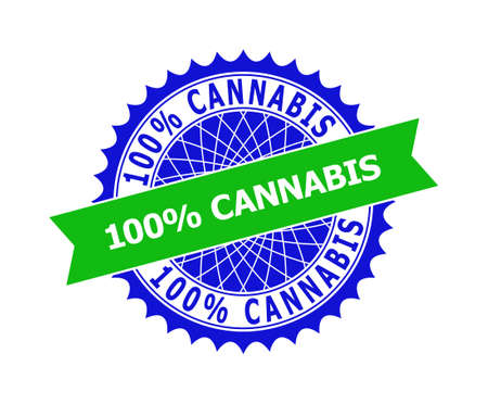 Vector 100% CANNABIS bicolor template for watermarks with clean surface. Flat clean seal template with 100% CANNABIS message inside round sharp rosette. Blue color elements.