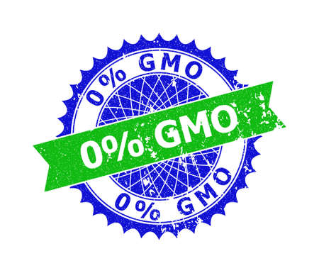 Vector 0% GMO bicolor watermark with grunge texture. Blue and green colors. Flat watermark with 0% GMO title inside round sharp rosette.