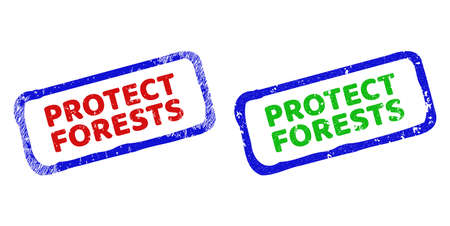 Vector PROTECT FORESTS framed rubber imitations with scratched surface. Rough bicolor rectangle seal stamps. Red, blue, green colors used.