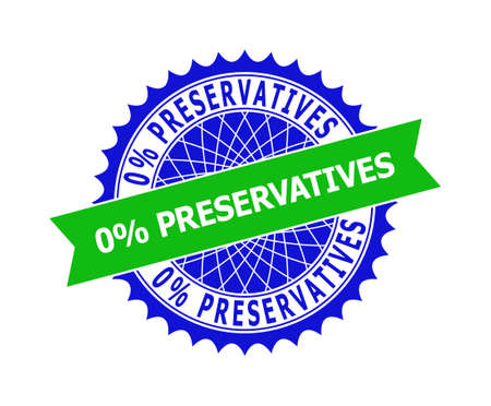 Vector 0% PRESERVATIVES bicolor template for imprints with clean surface. Flat clean seal template with 0% PRESERVATIVES text inside round sharp rosette. Blue color elements.