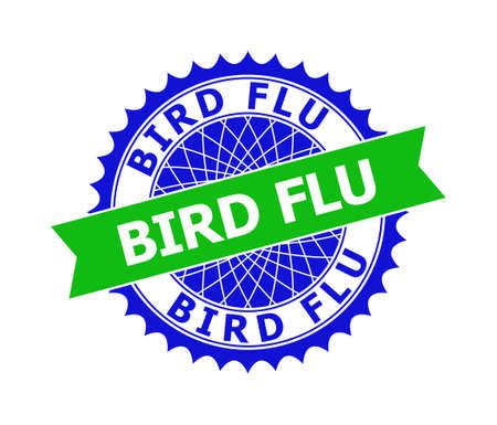 Vector BIRD FLU bicolor template for imprints with clean surface. Flat clean seal stamp with BIRD FLU title inside round sharp rosette. Blue color elements. Bicolor seal without textures.