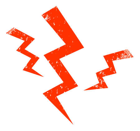 Crack strikes icon with grunge effect. Isolated vector crack strikes icon image with scratched rubber texture on a white background.