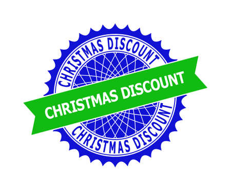 Vector CHRISTMAS DISCOUNT bicolor template for watermarks with clean surface. Flat clean seal template with CHRISTMAS DISCOUNT text inside round sharp rosette. Blue color elements.