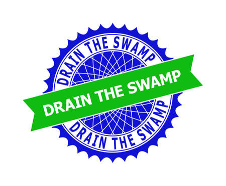 Vector DRAIN THE SWAMP bicolor template for imprints with clean surface. Flat clean stamp with DRAIN THE SWAMP caption inside round sharp rosette. Blue color elements. Bicolor stamp without textures.