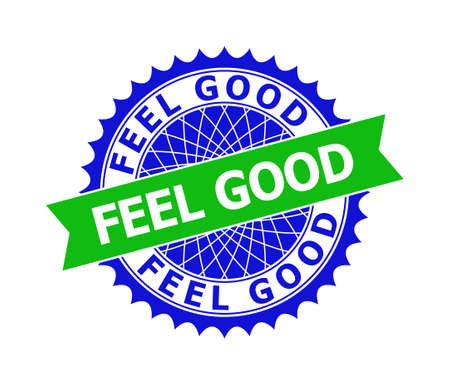 Vector FEEL GOOD bicolor template for watermarks with clean surface. Flat clean seal template with FEEL GOOD title inside round sharp rosette. Blue color elements. Bicolor stamp without textures.
