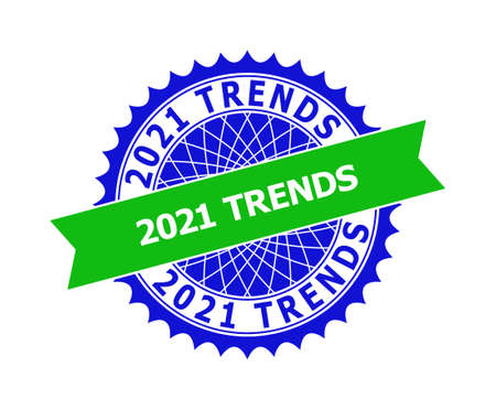 Vector 2021 TRENDS bicolor template for watermarks with clean surface. Flat clean seal template with 2021 TRENDS text inside round sharp rosette. Blue color elements. Bicolor seal without textures.