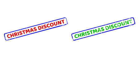 Vector CHRISTMAS DISCOUNT framed watermarks with distress texture. Rough bicolor rectangle stamps. Red, blue, green colors used.