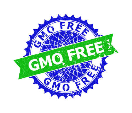 Vector GMO FREE bicolor stamp seal with unclean style. Blue and green colors. Flat seal stamp with GMO FREE message inside round sharp rosette.