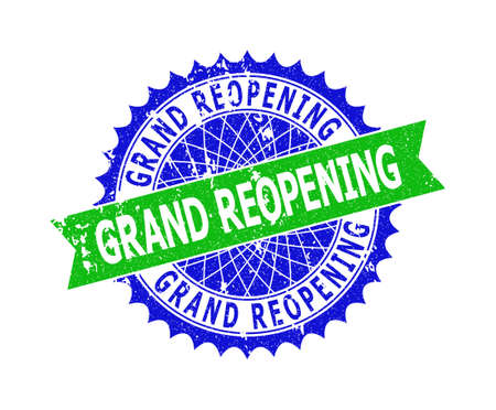 Vector GRAND REOPENING bicolor stamp seal with corroded texture. Blue and green colors. Flat seal imprint with GRAND REOPENING phrase inside round sharp rosette.