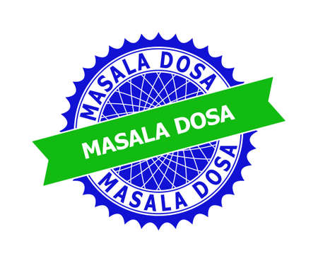 Vector MASALA DOSA bicolor template for rubber imitations with clean surface. Flat clean seal template with MASALA DOSA text inside round sharp rosette. Blue color elements.
