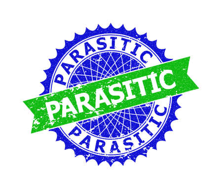 Vector PARASITIC bicolor stamp with grunged texture. Blue and green colors. Flat stamp with PARASITIC caption inside round sharp rosette.