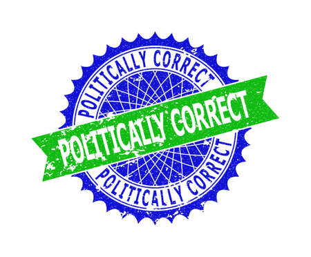Vector POLITICALLY CORRECT bicolor seal with corroded surface. Blue and green colors. Flat seal stamp with POLITICALLY CORRECT caption inside round sharp rosette. Ilustrace