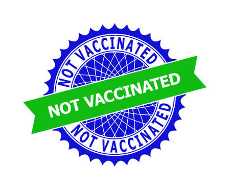 Vector NOT VACCINATED bicolor template for watermarks with clean surface. Flat clean seal stamp with NOT VACCINATED caption inside round sharp rosette. Blue color elements. Vektoros illusztráció