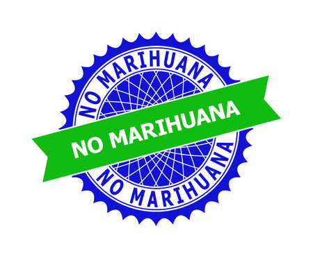 Vector NO MARIHUANA bicolor template for imprints with clean surface. Flat clean seal template with NO MARIHUANA phrase inside round sharp rosette. Blue color elements.