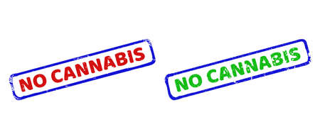 Vector NO CANNABIS framed rubber imitations with corroded texture. Rough bicolor rectangle stamps. Red, blue, green colors used.